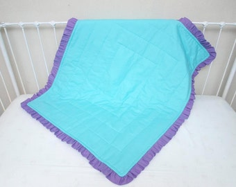 Bumperless Aqua And Purple Baby Girl Crib Cot Bedding With
