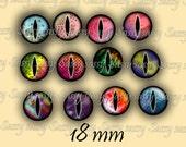 Dragon Eyes 18mm Set of 108 Circles on Collage Sheet