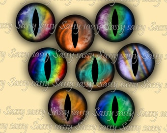 Dragon Eyes 1 Inch Circles on Collage Sheet - Set of 48