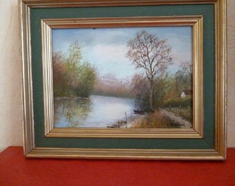 French vintage 1950s Original Oil Painting Of Autumn Lake river tree boat Signed Fall Forest Landscape gold tone frame painting