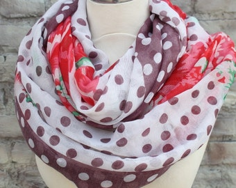 Fashion infinity scarf   with polka dot and flower  print
