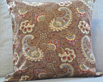 Paisley Pillow cover, Chocolate paisley pillow cover, Zippered pillow cover