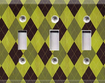 Nature Lover Collection - Argyle Triple Light Switch Cover