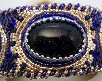 Bead Embroidered Cuff bead embroidery cuff Blue Goldstone beaded Cuff one of a kind cuff bracelet unique gift statement cuff beaded jewelry