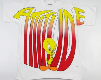 Vintage 90s ATTITUDE LOONEY TUNES Shirt All Over Print Hip Hop Hipster Tweety Bird