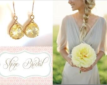 Yellow Bridesmaid Earrings Gold Earrings Lemon Yellow Earrings Yellow Wedding Jewelry Citrine Crystal Gold Bridal Jewelry Yellow Sapphire
