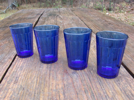 Set Of 4 Vintage French Cobalt Blue Glasses Glass Kitchen
