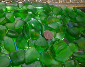 1 1/2 pounds Green 100% Genuine Ocean Tumbled Sea Glass from the Monterey Bay, Mixed Quality