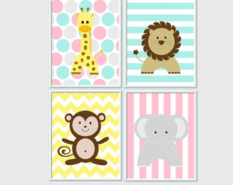 Baby Nursery Wall Art Safari Jungle Animals Giraffe Elephant Monkey Lion Baby Nursery Decor Nursery Prints Safari Animals 4 PRINT SET