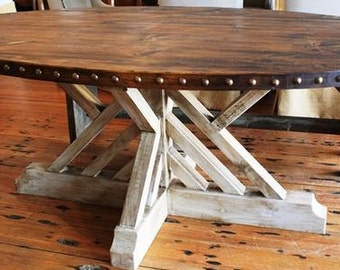 Rustic Oval Harvest Table