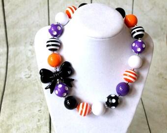 Halloween chunky bubblegum bead necklace black orange purple girls chunky bead necklace for girls bubble gum bead