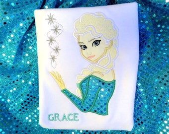 Elsa INSPIRED shirt ONLY frozen applique top Frozen Winter princess shirt Brithday clothing Frozen clothing
