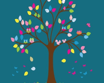 Fabric Tree Wall Decal with Monkeys REUSABLE Decal T102