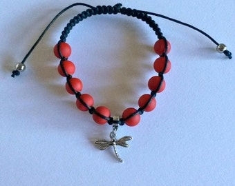 DRAGONFLY CHARM Shamballa Bracelet with COLORFUL Matte Beads for men and women, guy and girl, stackable and adjustable Lusnyak