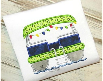 Pontoon Boat Rear End - Applique Design - Instant EMAIL With Download - for Embroidery Machines