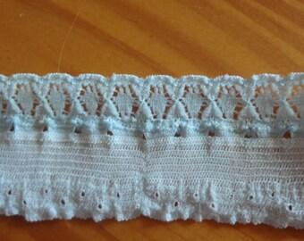 "3 Yards Vintage Light Blue Stretch Lace  (some spotting) 1 1/4"" Trim 112"
