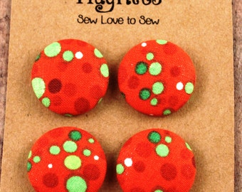 Fabric Covered Button Magnets / Polka Dots on Orange Magents / Polka Dot Magnets / Strong Magnets / Refrigerator Magnets / Fridge Magnets