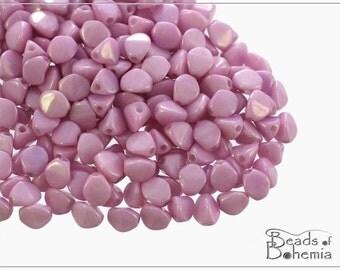 50 pcs Chalk Lila Luster Czech Glass Pinch Beads Classic 5x3,5 mm (8683)