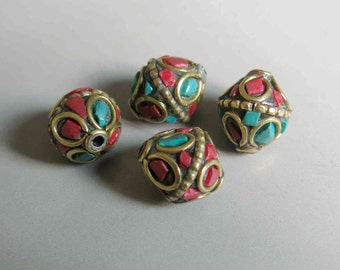 10pcs Nepal Tibetan Brass Bead With Turquoise Coral Inlay 14mm x 12mm - A431