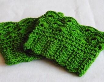 Boot cuffs green/boot toppers green/boot liners handmade crochet/leg warmers/tall boot socks women teen girls Christmas gift idea