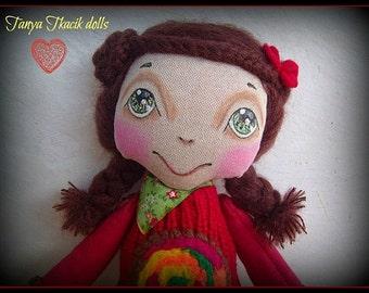 Cloth doll, art doll, interior doll, modern doll, handmade doll, ooak doll, collectible art doll, rag doll, ready to ship