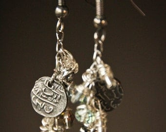 Multi-Dangle Beads and Stamped Metal Disc Earrings