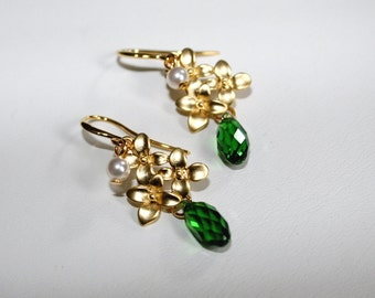 Cherry blossom earrings with Swarovski emerald crystal drops and pearls