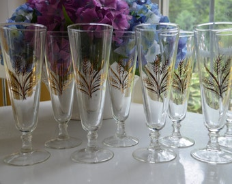 mid century set of eight 8 gold wheat pilsner, beer glasses