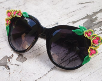 Giant Pink and Yellow Floral Sunglasses