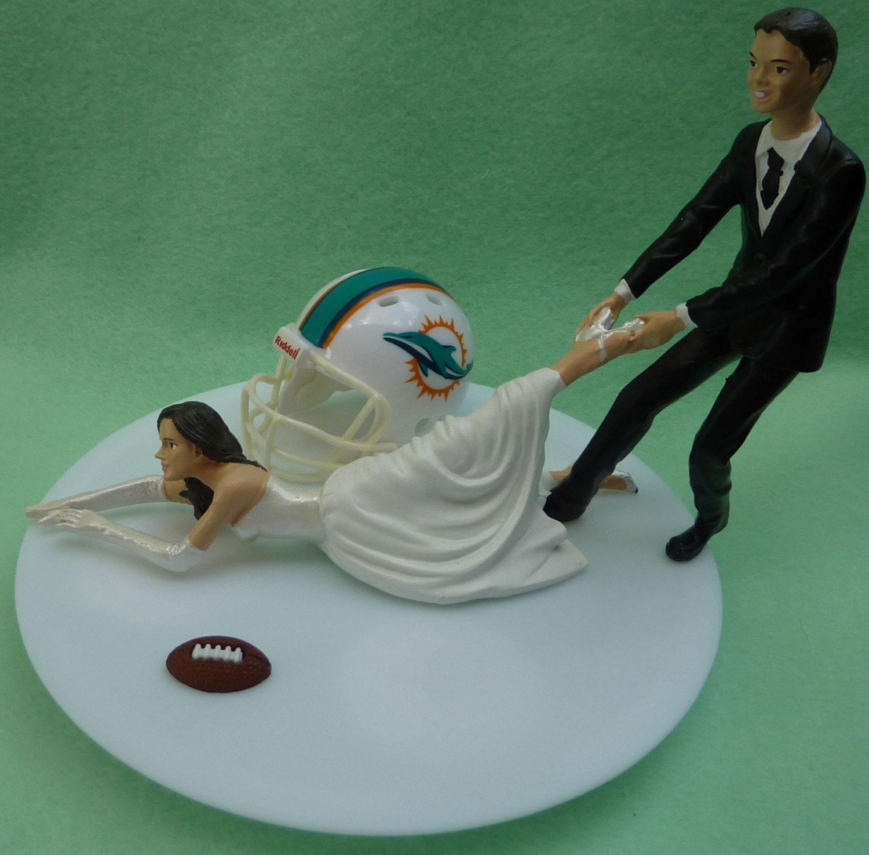 Wedding Cake Topper Miami Dolphins G Football Themed w Garter
