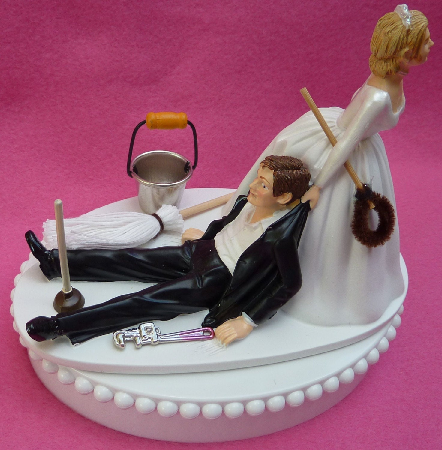 Wedding Cake Topper Janitor Themed w Bridal Garter Janitorial