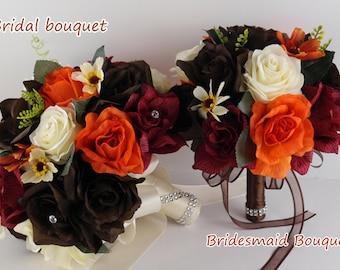 17Pc Wedding Bridal Bouquet Silk Flower Decoration Package BROWN ORANGE BURGUNDY