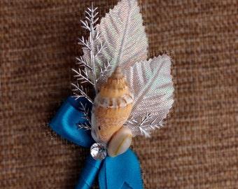 Beach Wedding Seashell Boutonniere-Turquoise,Silver White