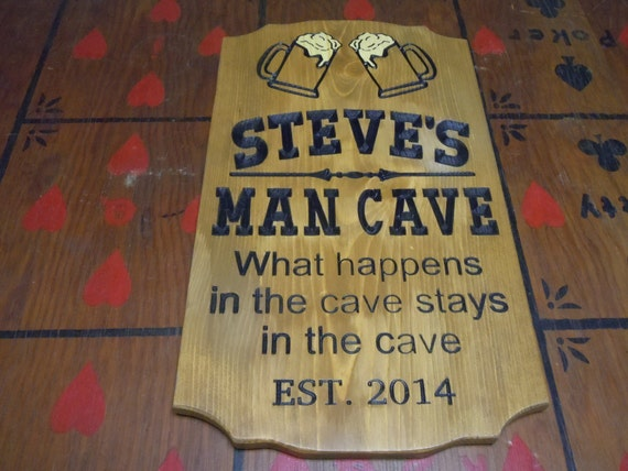 Engraved Man Cave Signs : Man cave sign personalized wooden carved stained housewarming