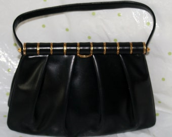 Prestige Black Leather Pleated Handbag