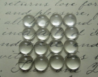 40 Pcs Clear Glass Cabochon, 10mm Glass Cabochon, Cameo Cover, Flat back Cabochon, High Dome