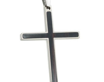 ON SALE! Titanium Cross Pendant with African Blackwood Inlay TMP357