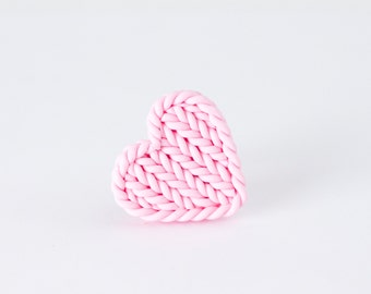 Pink heart ring - knit imitation heart - heart shaped baby pink ring - valentines gift pink heart