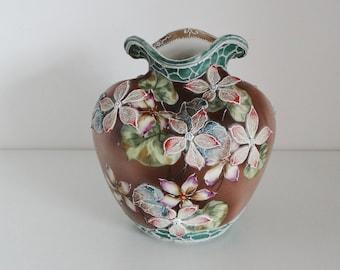 Vintage Vase Rare Antique Dimpled High Relief Embossed Vase Oriental Flower Design in Brown, Green, Pink and Cream European Circa 1880's