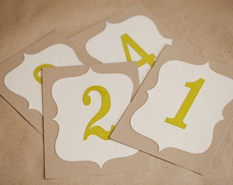 5x7 Table Numbers for wedding, baby shower, or party, Custom Made - Choose your Colors & Quanitity