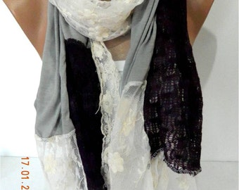 Elegant scarf - Fashion scarf - scarves - Shawl-Gif Scarf- Purple-Grey Scarf
