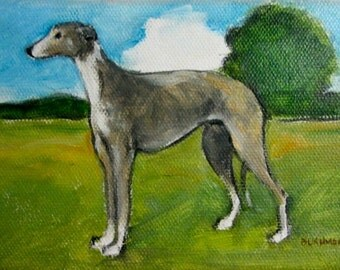 Original oil painting of a Greyhound with landscape