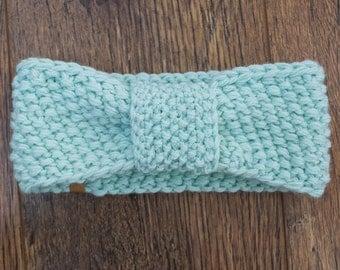 Women's Knit Headband / Knitted Headband / Handmade Merino Headband / Mint Headband