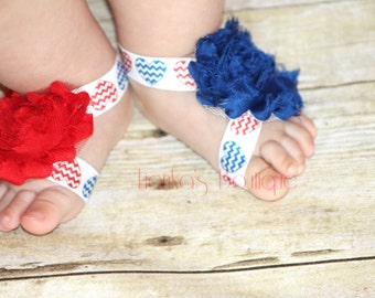 4th of July Barefoot Sandals Red White Blue Barefoot Sandals