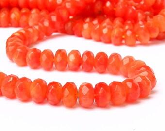 "15"" 8mm Hyacinth Orange Jade FACETED rondelle beads gemstone - full strand - tangerine red orange"