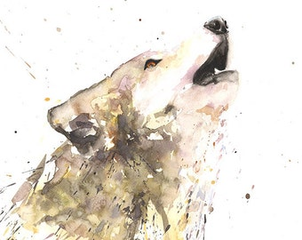 WOLF PRINT - watercolor wolf painting, wolf decor, animal art, wildlife painting, watercolor animal, wolf art, wolf lover, wolf gift