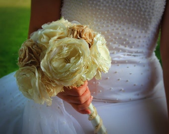 """CUSTOM Wedding Bouquet- handmade fabric flowers using your upcycled fabric fake flower bouquet satin organza gold """"silk"""" flowers vintage"""