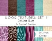 Digital Paper Pack: Wood Textures Set 1- Dessert Hues- INSTANT DOWNLOAD - Print Quality 300 dpi 12x12 Inch