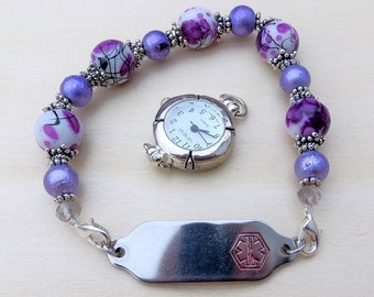 Interchangeable Watch or Medical ID Bracelet Stretchy Bracelet Purple and White Beaded Bracelet Band
