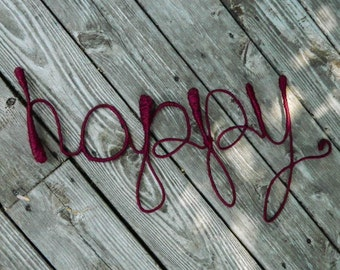 Happy - Wire Word Wall Art - Yarn-Wrapped Word - Unique Home Decor - Graphic Wall Art - Inspirational Art - Burgundy Home Decor